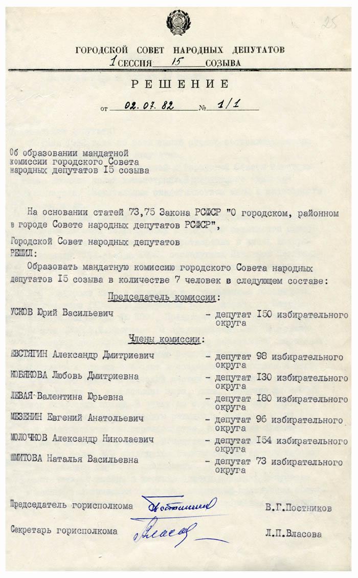 Решение городского Совета народных депутатов