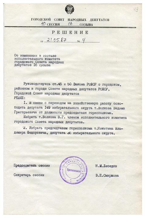 Об изменении в составе исполнительного комитета городского Совета народных депутатов 16 созыва